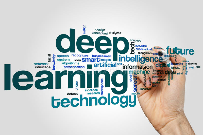 Deep learning word cloud. Concept stock image