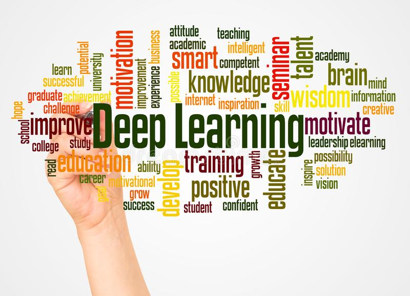 Deep Learning word cloud and hand with marker concept stock photography