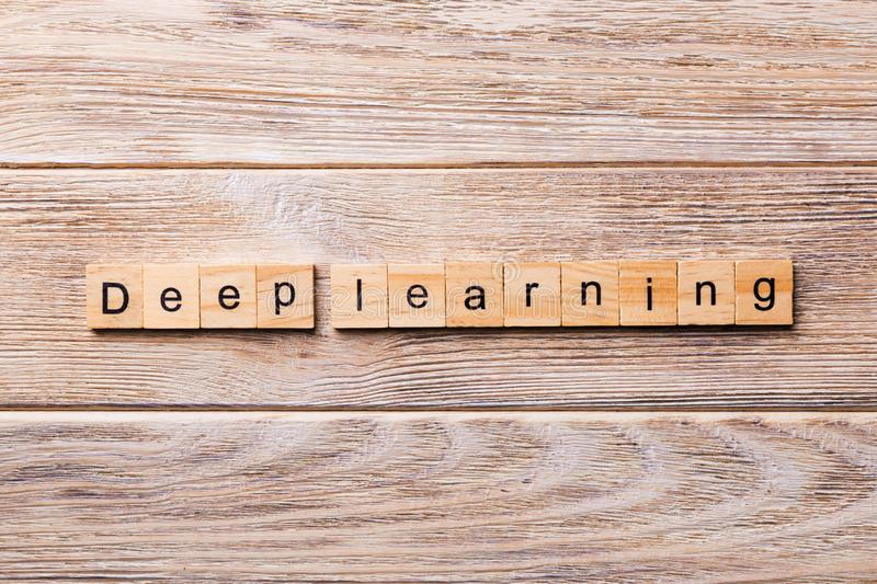 Deep Learning word written on wood block. Deep Learning text on wooden table for your desing, concept.  stock images