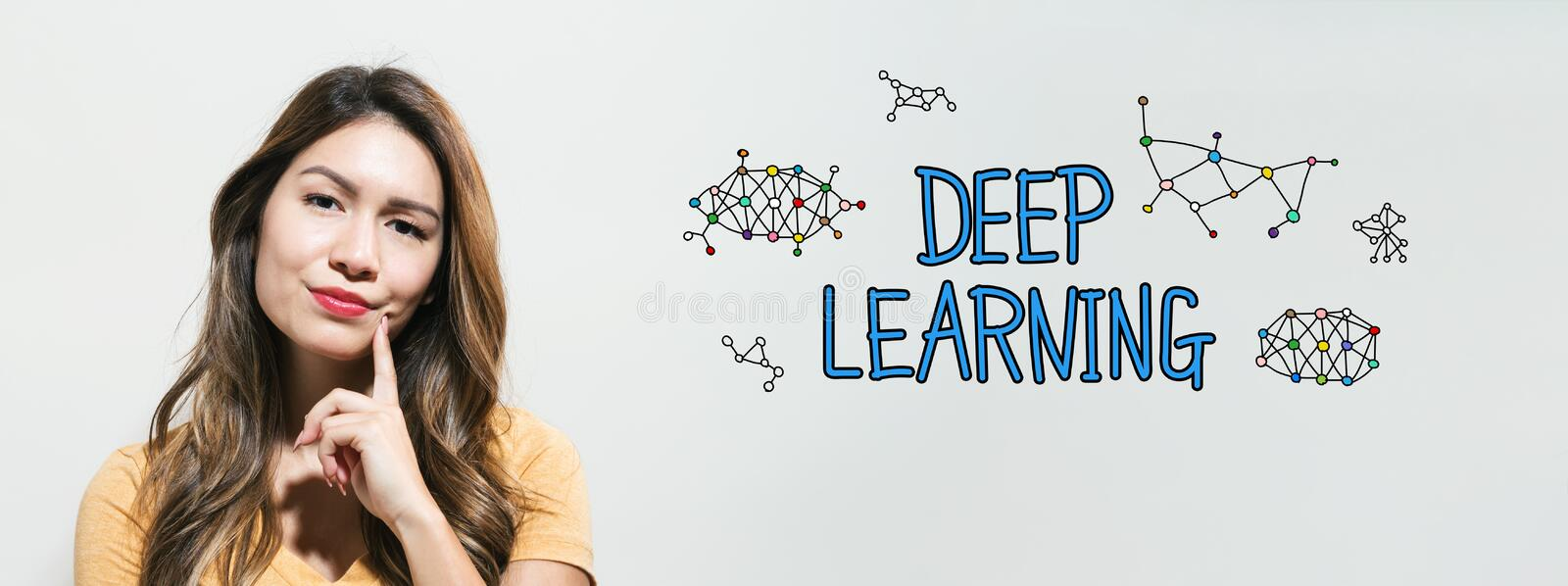 Deep learning with young woman. In a thoughtful fac royalty free stock photography
