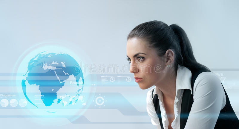 Deep look into the future stock images