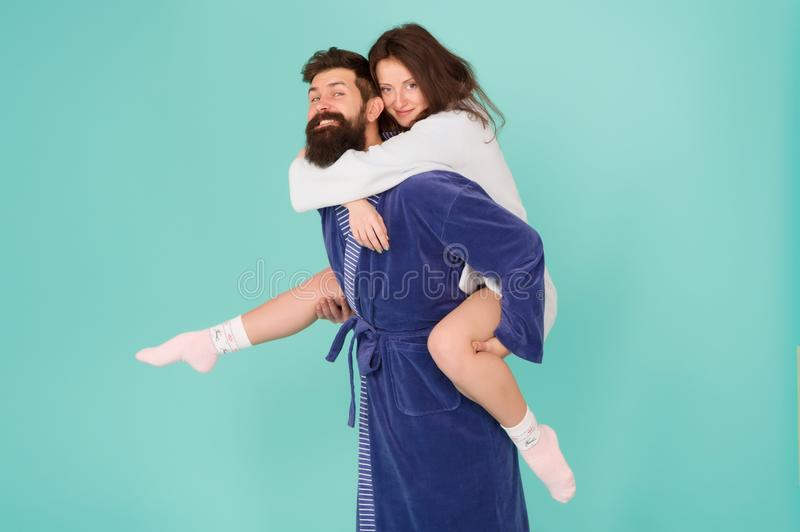 Deep in love. Having fun. Perfect morning. Happy family couple. woman and bearded man in robe. romantinc couple in love. Deep in love. Having fun. Perfect stock image