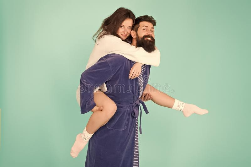 Deep in love. Having fun. Perfect morning. Happy family couple. woman and bearded man in robe. romantinc couple in love royalty free stock photo