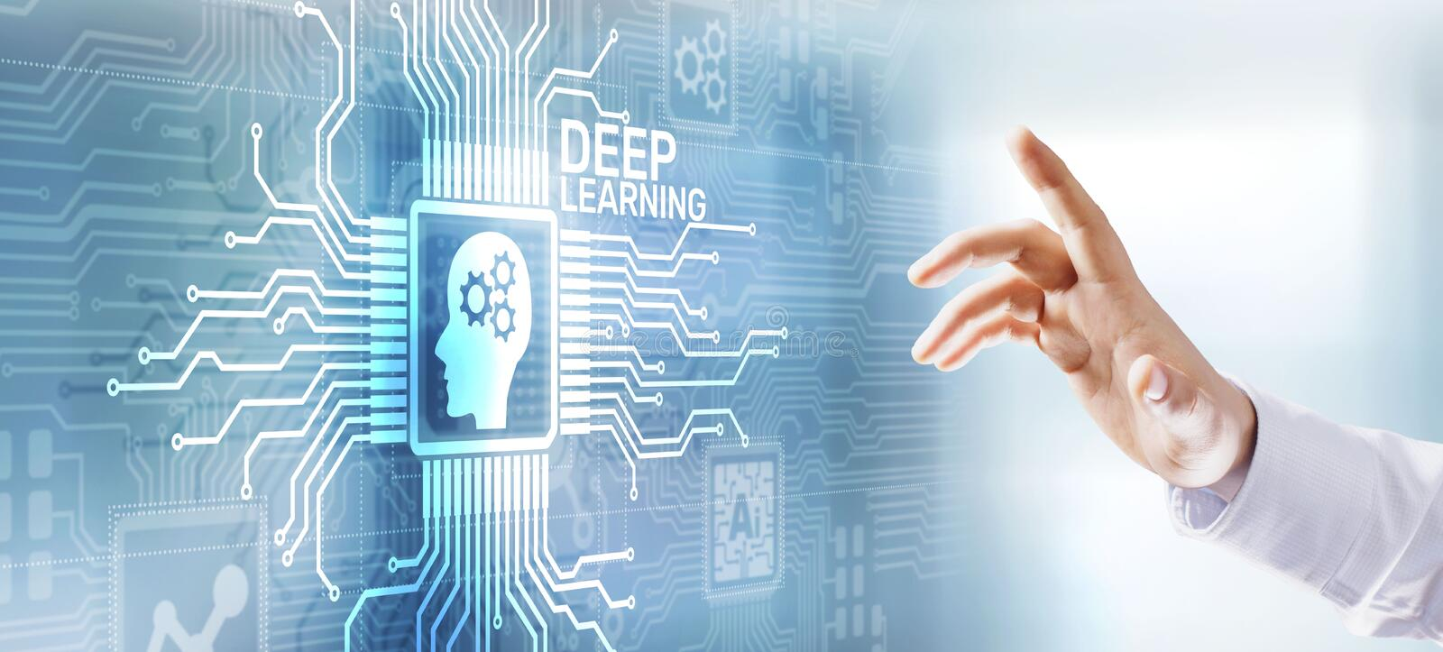 Deep machine learning AI artificial intelligence Digital technology concept on virtual screen. Deep machine learning AI artificial intelligence Digital stock photos