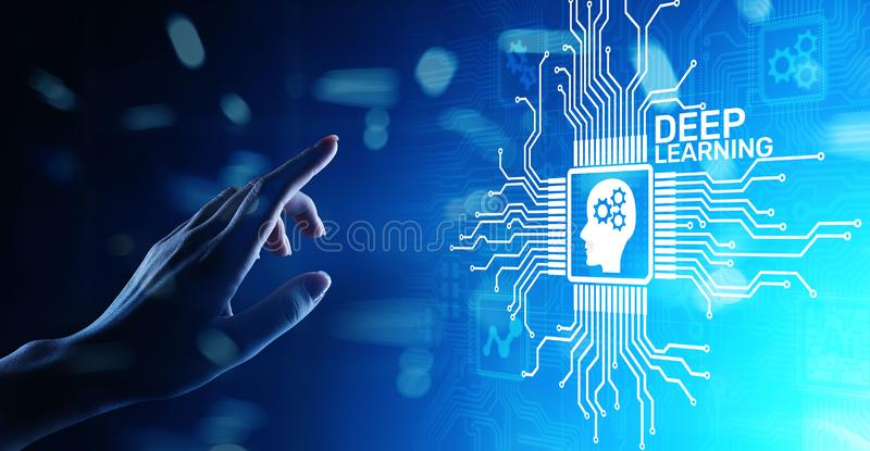 Deep Machine learning Artificial intelligence AI technology concept on virtual screen. Deep Machine learning Artificial intelligence AI technology concept on royalty free stock photography