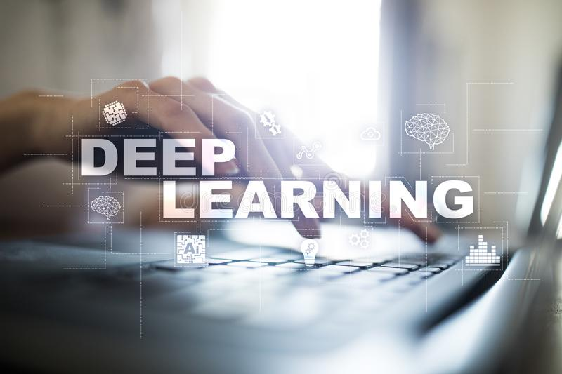Deep machine learning, artificial intelligence in smart factory or technology solution. Deep machine learning, artificial intelligence in smart factory or stock photo