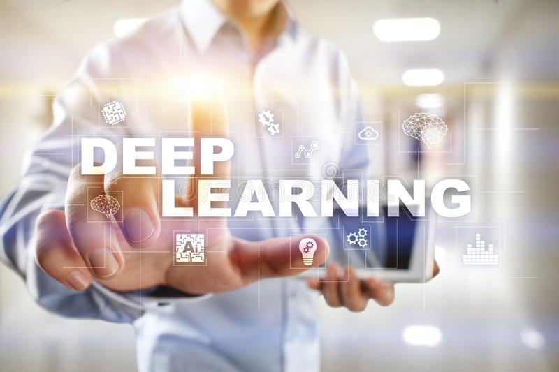 Deep machine learning, artificial intelligence in smart factory or technology solution. Deep machine learning, artificial intelligence in smart factory or royalty free stock images
