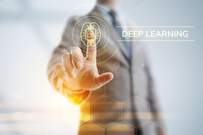 Deep Machine learning artificial intelligence technology concept. Businessman pointing on screen. royalty free illustration