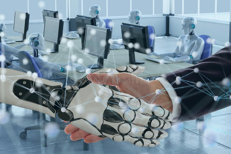 Deep machine learning with artificial intelligence technology with neural network concept, hand man and robotic hand check hand to stock image