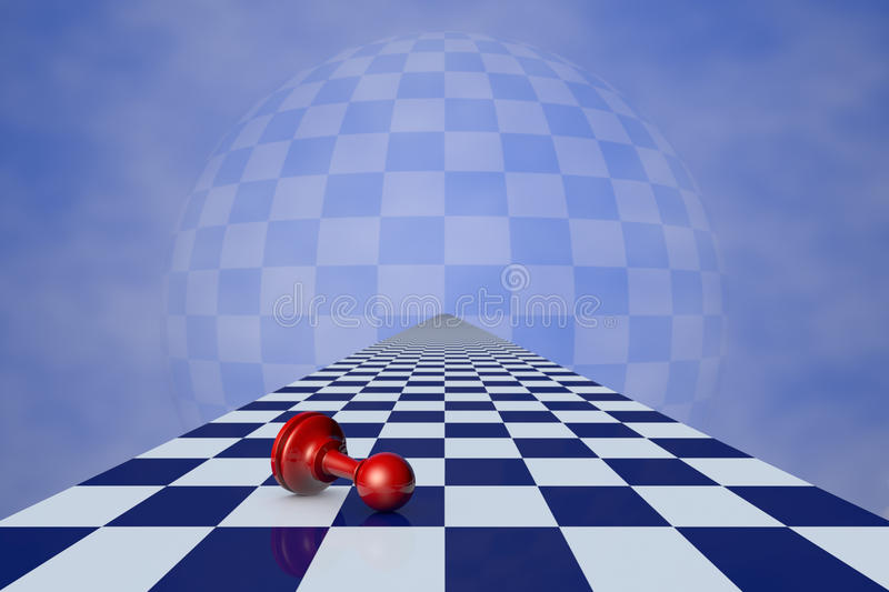Deep Meditation. Red pawn on the chessboard long (fantastic background vector illustration