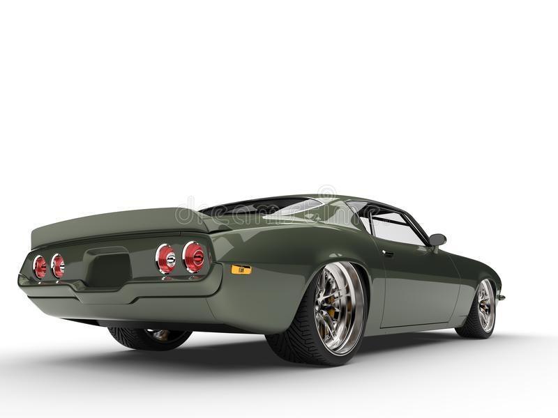Deep Metallic Green Classic Old School American Car - Tail View ...