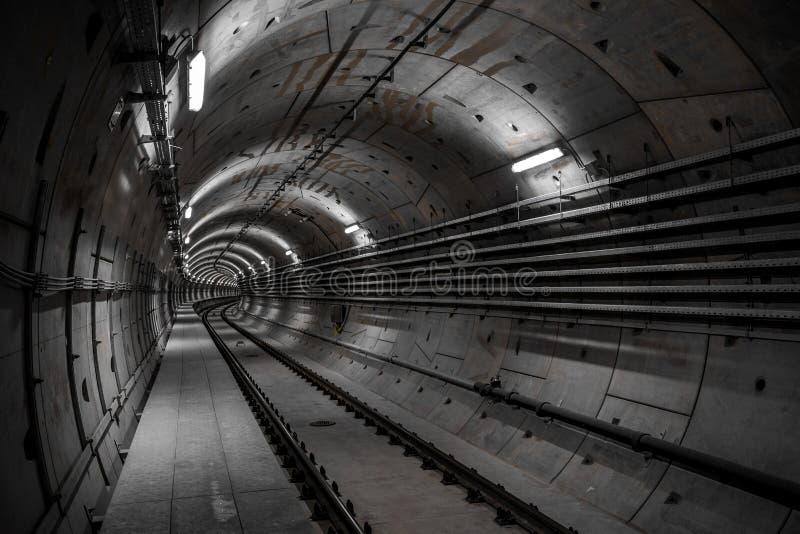Deep metro tunnel royalty free stock photos