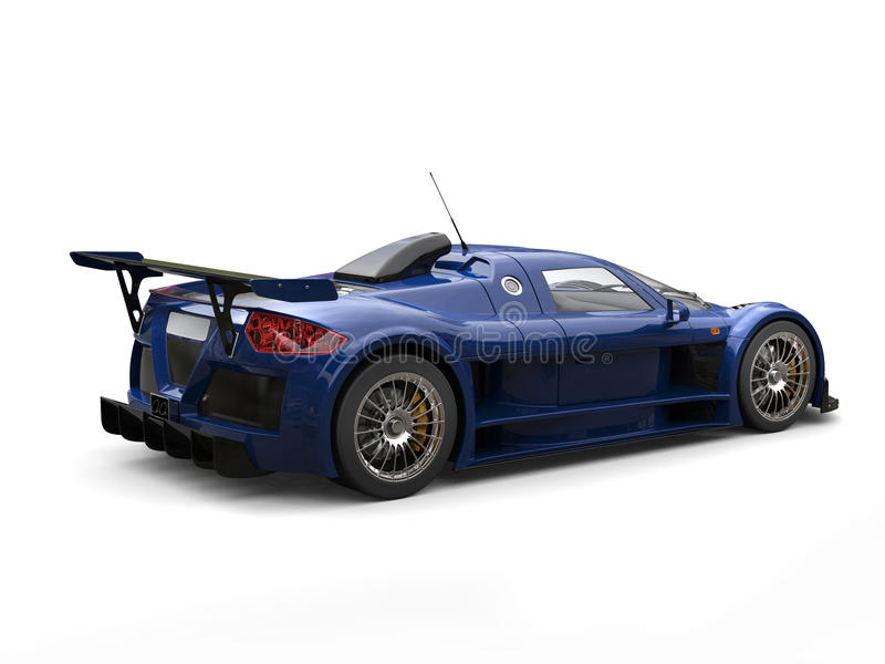 Deep navy blue racing supercar - studio shot back view. Isolated on white background stock illustration