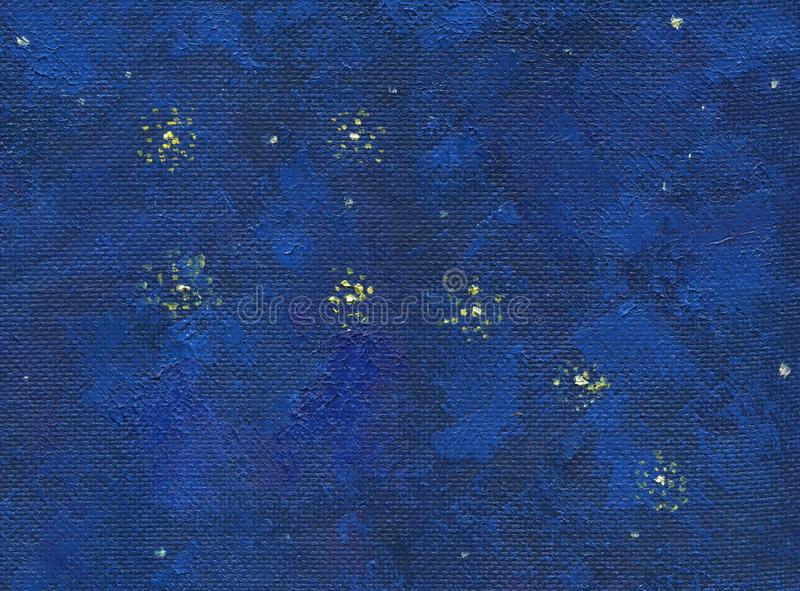 A deep night sky with stars. Oil painting stock illustration