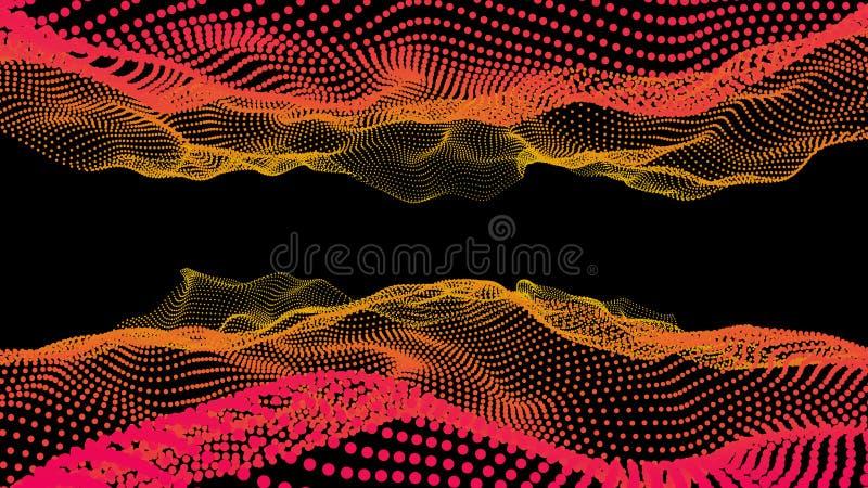 Deep ocean data effect. Sea dots 3d music wave stock image