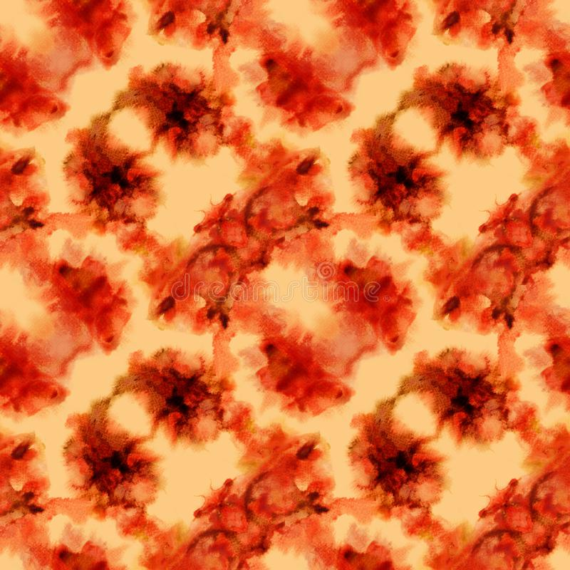 Deep orange splashes pattern. Watercolor abstract seamless pattern. Background with scattered deep orange splashes and stains. Hand painted astonishing tile of royalty free stock photos