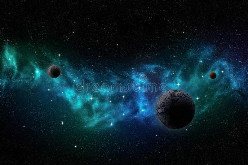 Deep outer space landscape with nebula, planets and stars royalty free illustration