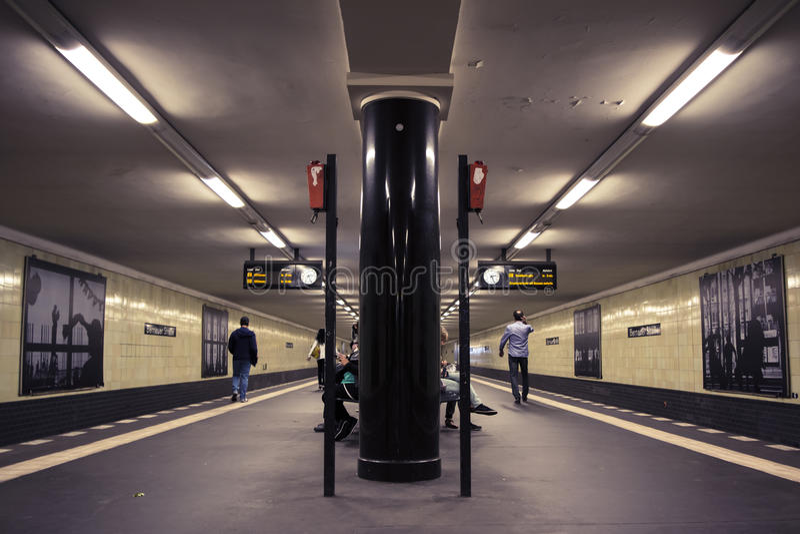 Deep perspective of a Berlin metro station. Deep perspective of the historic Berlin subway station Bernauer Strasse stock photos
