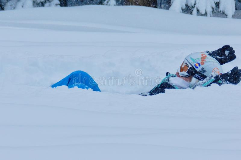 Deep Powder: Christmas Time Fun at Beaver Creek, Colorado. Skiers and Snowboarders alike love the deep snow and warm people at Beaver Creek Ski resort, in royalty free stock photo