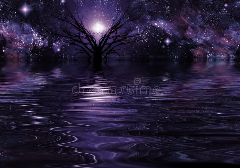 Deep Purple Fantasy Landscape. Mystic tree in the water stock illustration