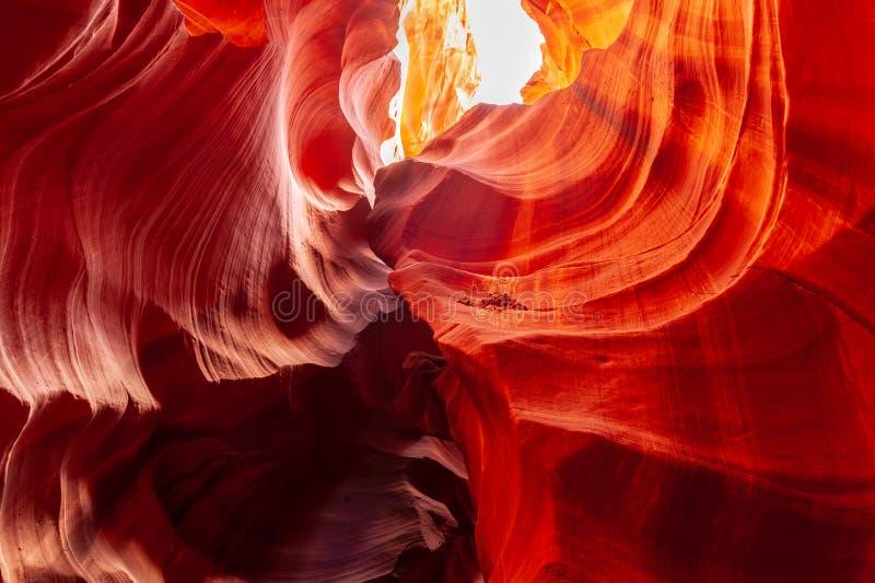 Antelope Canyon in Arizona. The Deep Red Canyon Walls of the Upper Antelope Canyon, near Page, Arizona royalty free stock photography