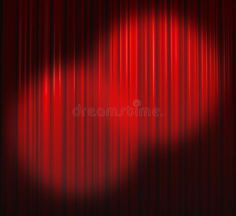 Deep Red Curtain With Two Spots stock photography
