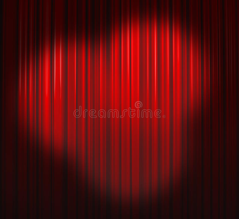 Free Deep Red Curtain With Three Spots Royalty Free Stock Photography - 10892117