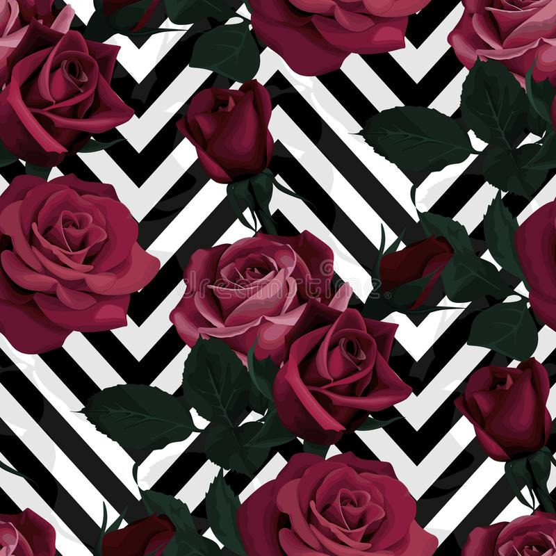 Deep red roses vector seamless pattern. Dark flowers on black and white chevron background, flowered texture royalty free illustration