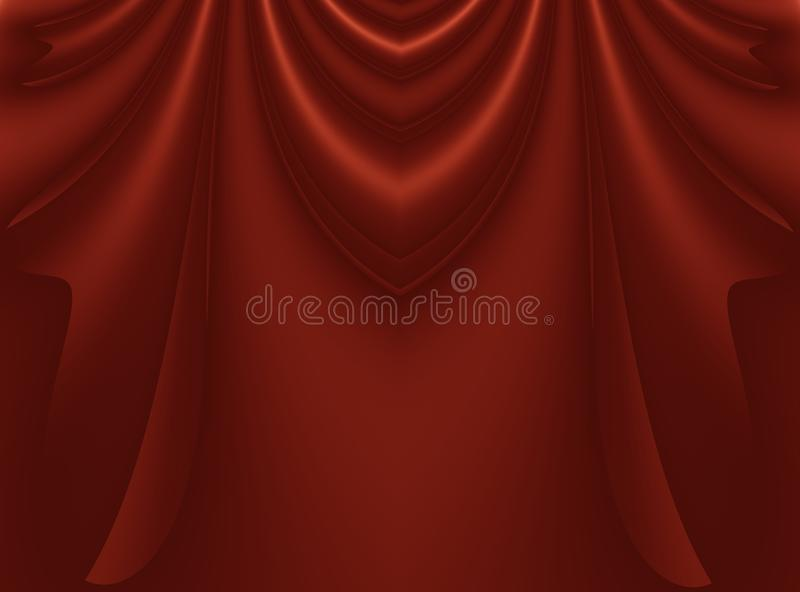 Deep rich red modern abstract fractal background illustration with stylized draping or curtains. Dark smooth elegant creative temp. Late for fashion themed royalty free illustration