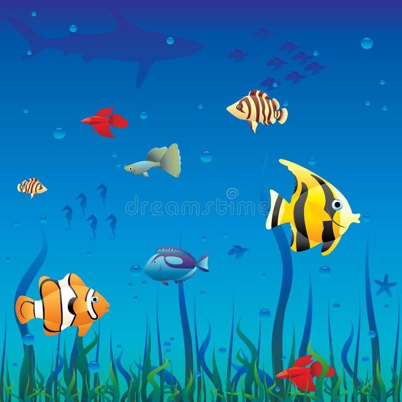 Deep sea. Sea life, fishes and silhouettes stock illustration