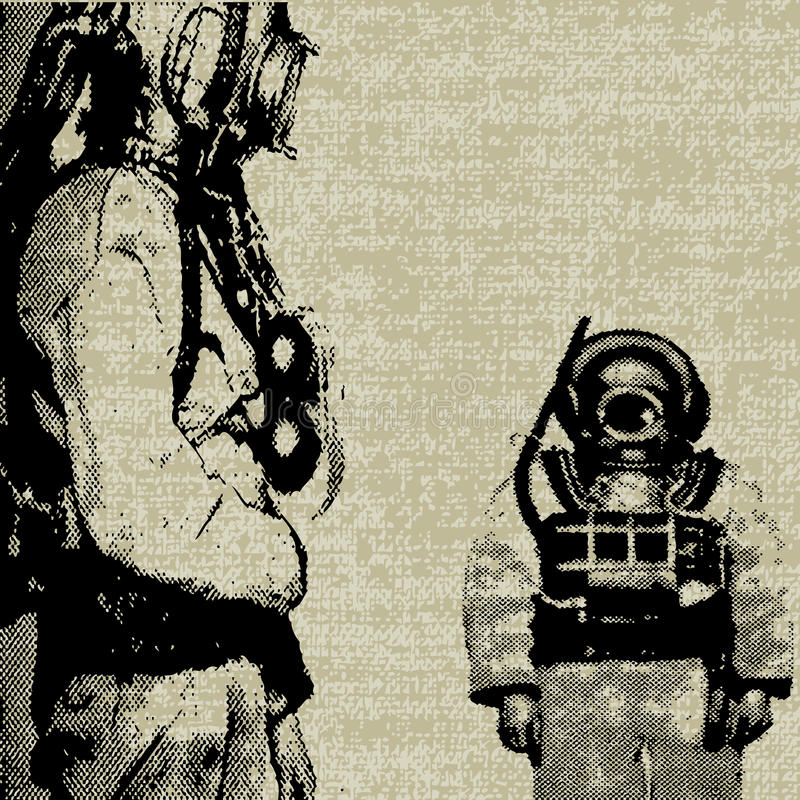 Deep Sea Diver Background. Background grunge illustration with vintage deep sea divers