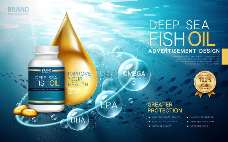 Deep sea fish oil stock illustration