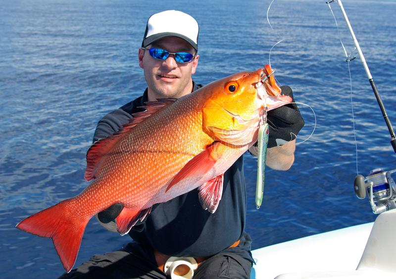 Deep sea fishing. Red snapper royalty free stock photography