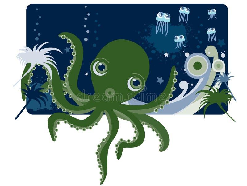 Download Deep sea Octopus stock vector. Illustration of life, blue - 17331349