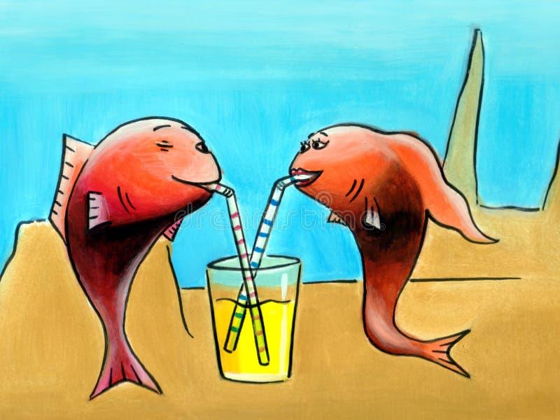 Deep sea romance. A couple of fish having a drink vector illustration