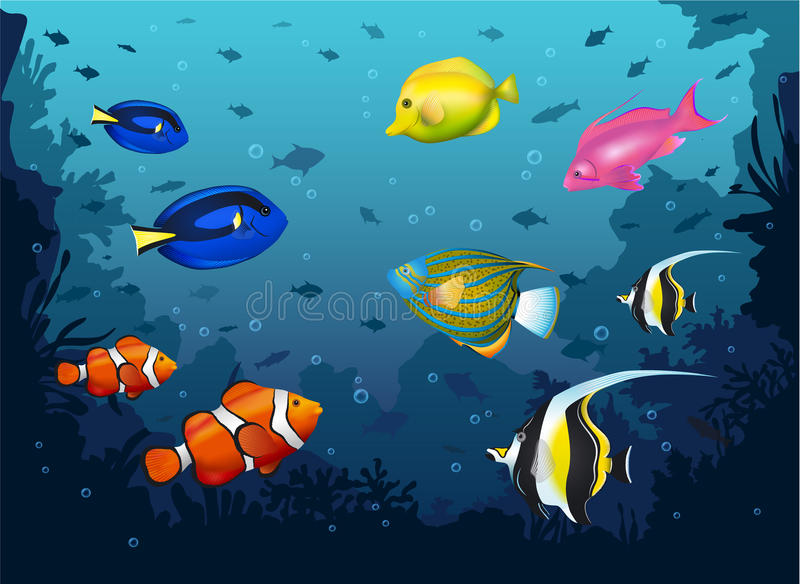 Deep Sea with Tropical Fishes royalty free illustration