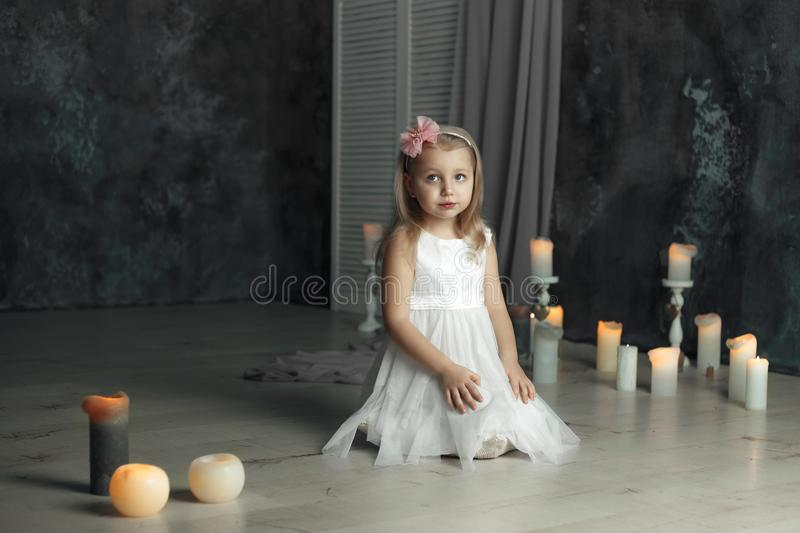 Deep sight eyes portrait of little girl royalty free stock photo