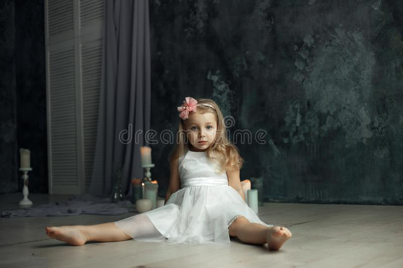 Deep sight eyes portrait of little girl royalty free stock image