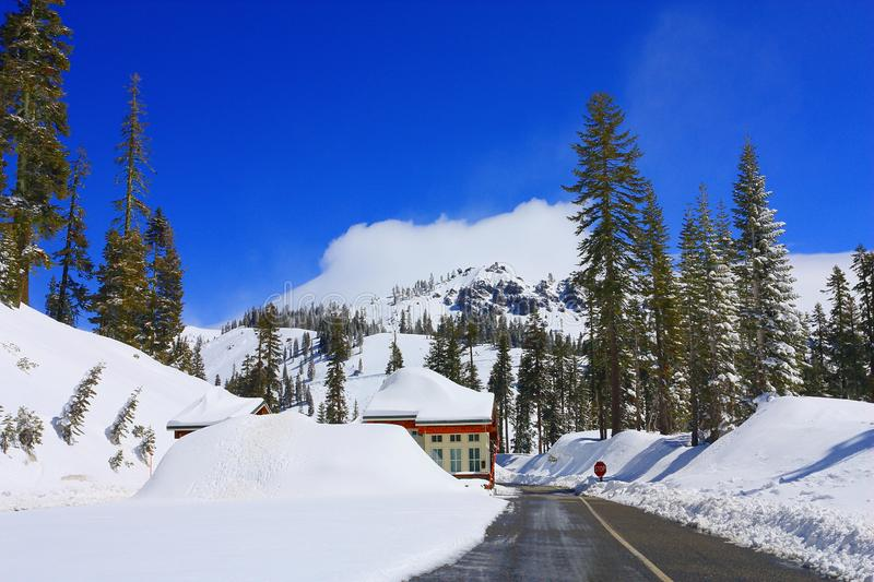 Deep Snow at Entrance Station to Lassen Volcanic National Park, Northern California royalty free stock photos