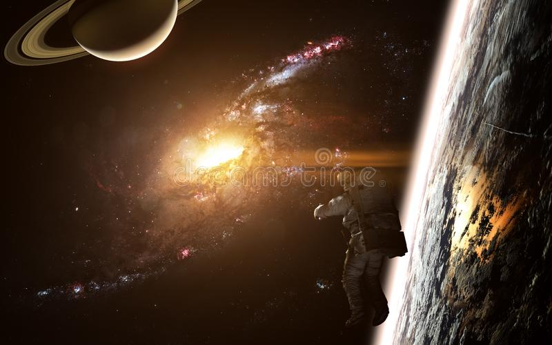 Deep space, astronaut, planets and galaxy. Beautiful space landscape. Elements of the image were furnished by NASA stock image
