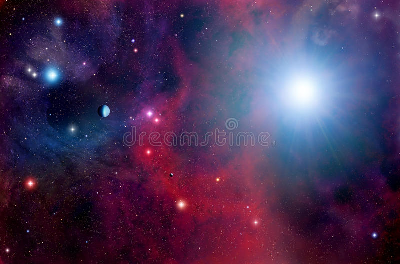 Space Stars Planets Background royalty free illustration