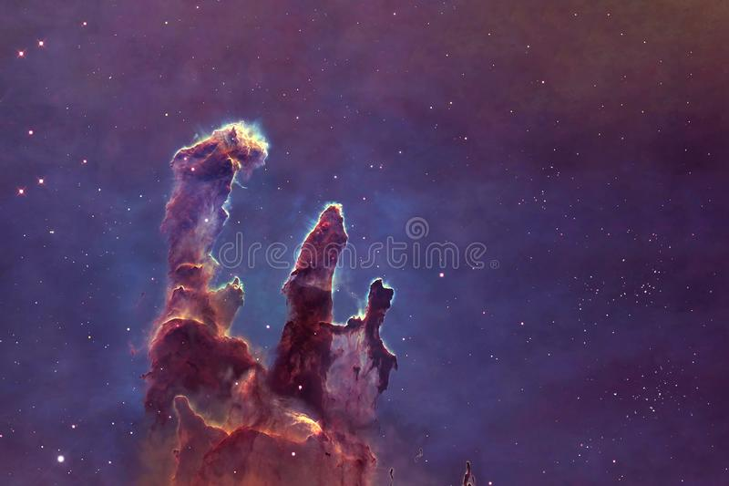 Deep space, a beautiful nebula in the form of pillars. Elements of this image were furnished by NASA vector illustration