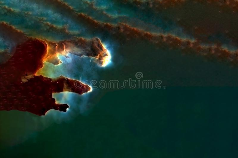 Deep space, a beautiful nebula in the form of pillars. Elements of this image were furnished by NASA. For any purpose royalty free illustration