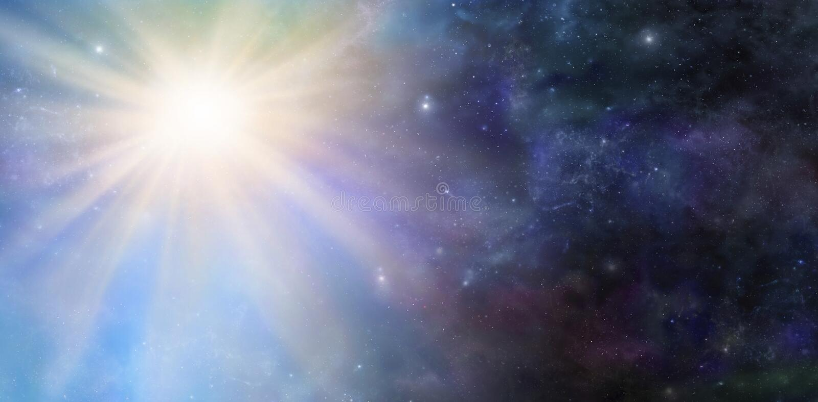 Deep Space Big Bang Event. Wide panel of dark starry outer space with a massive light burst big bang phenomenal event stock photos