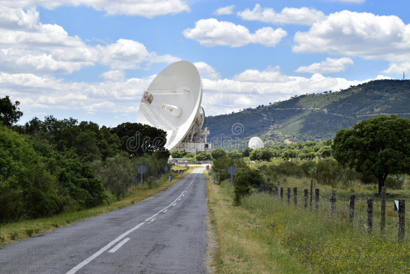 Deep space communications complex. Deep space communications complex, dejected antenna, in Madrid stock image