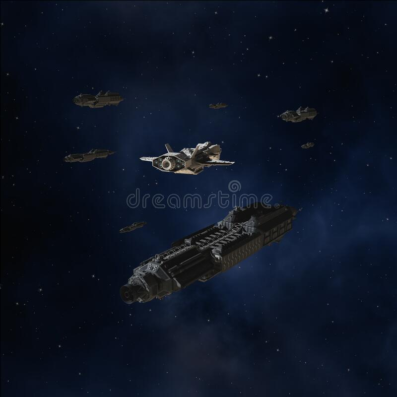 Free Deep Space Convoy And Escort Ships Stock Image - 180010231