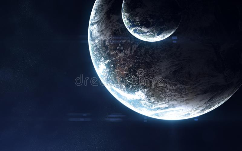 Deep space, exoplanets in light of blue star. Abstract science fiction. Elements of the image are furnished by NASA. Deep space, exoplanets in light of blue star stock images