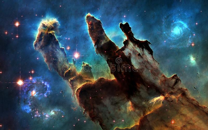 Deep space. Pillars of Creation and galaxies royalty free illustration