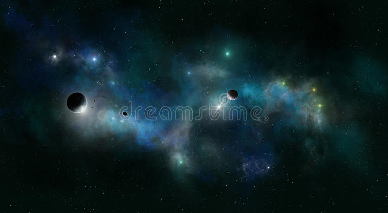 Deep Space Star Field. Imaginary deep space nebula background with planets and stars royalty free stock image