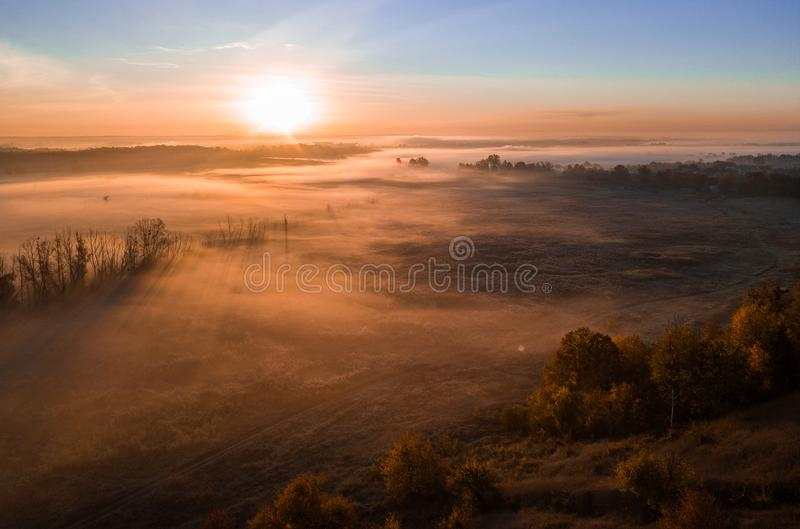 Deep thick fog in the valley. Long shadows from the trees. Atmospheric beautiful dawn. Aerial drone photo. Amazing mood royalty free stock image